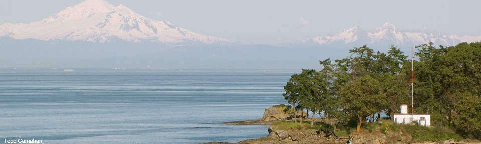 View of Mt. Baker from gulf isalnds, by Todd Carnahan